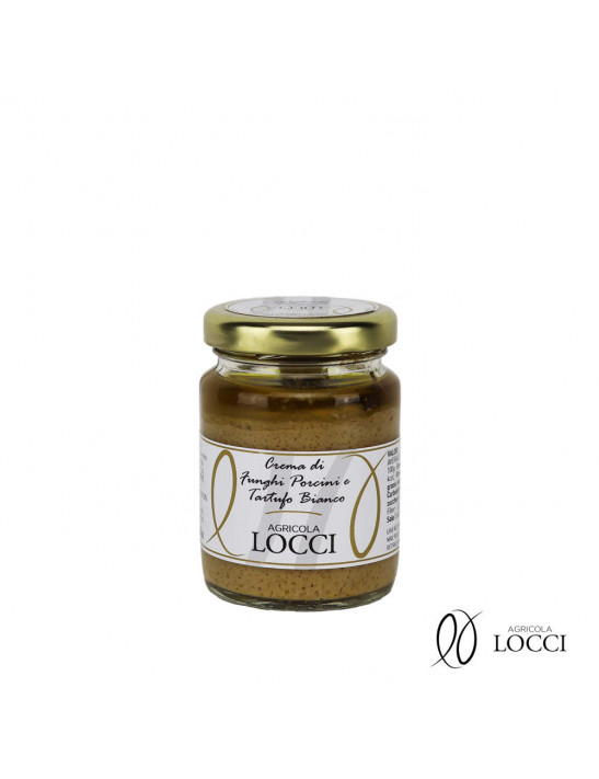 Porcini mushroom sauce and white truffle in a jar