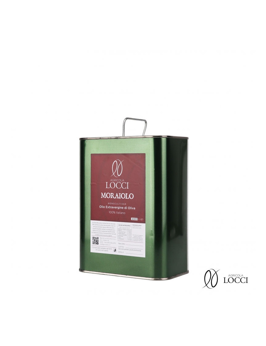 Moraiolo monocultivar extra virgin olive oil in a 2 liter can
